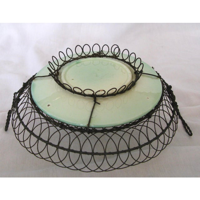 French Majolica Plate in Wire Basket, C.1880 French A-Pair For Sale - Image 3 of 6