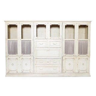 Italian Style Baker Furniture Co. Cream Bookcase Wall Unit For Sale