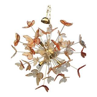 Italian Murano Glass Butterfly Sputnik Chandelier For Sale