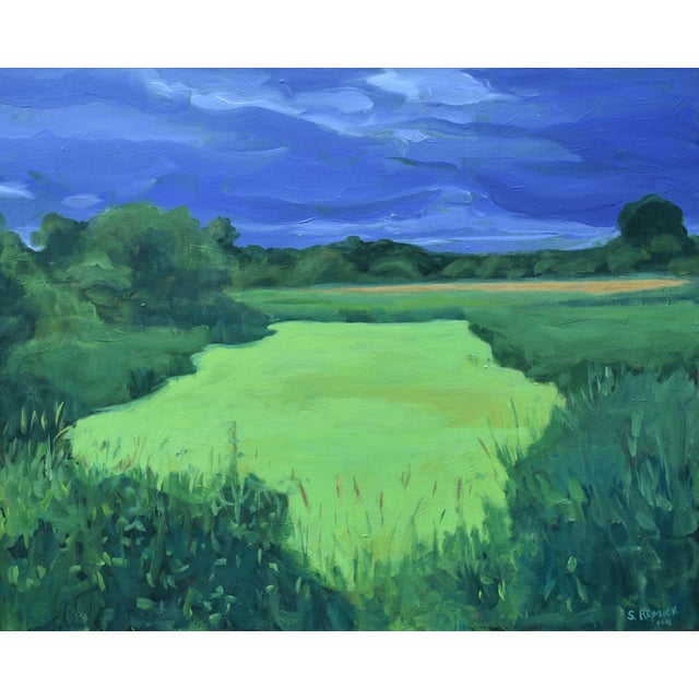 """""""Glowing Green ~ Algae Covered Pond"""" Contemporary Painting by Stephen Remick For Sale"""