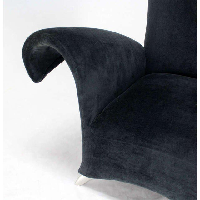 Black Pair of Mid Century Modern High Back Oversize Wingback Chairs For Sale - Image 8 of 10