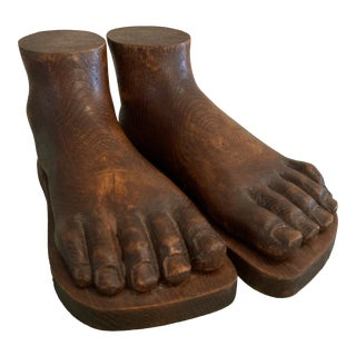 Italian Carved Wooden Feet - a Pair For Sale