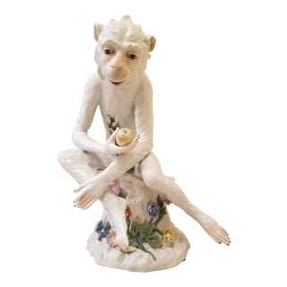 Dresden Porcelain Monkey Figurine For Sale