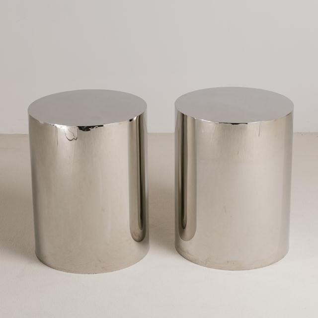 Pair of Polished Steel Pedestals, Table Bases 1970s For Sale - Image 6 of 6