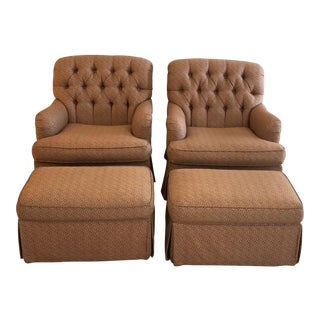 Lillian August Swivel Lounge Chairs & Ottomans, 2011 - Set of 4