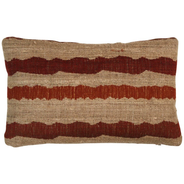 Indian Handwoven Pillow Ocean Stripe Warm For Sale