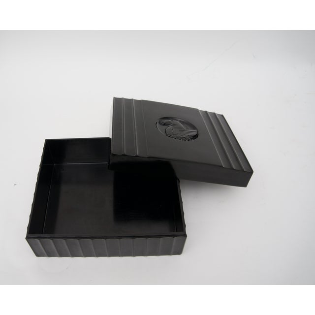 Plastic 1920s Dunhill American Art Deco Black Bakelite Storage Box with Pegasus Motif For Sale - Image 7 of 9