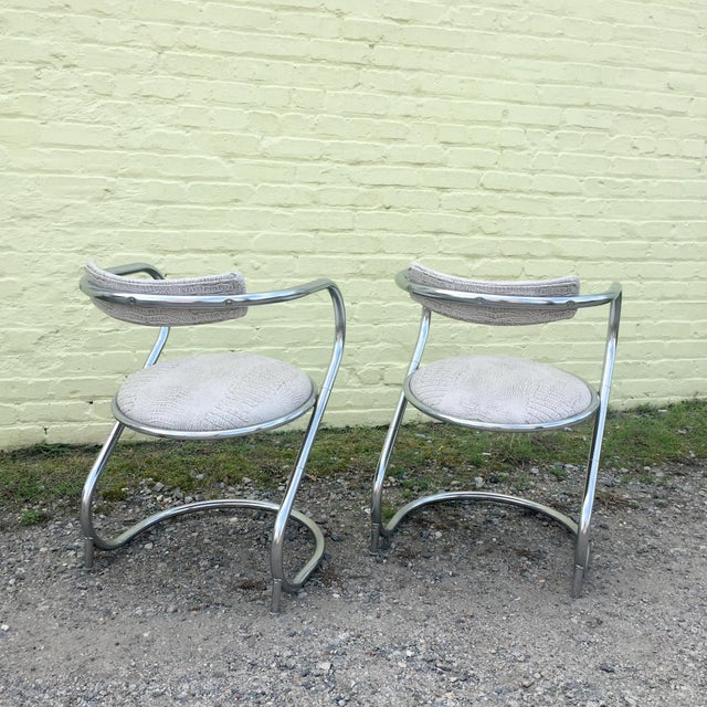 Modern Pair of Thonet Style Faux Snake Skin & Chrome Cantilever Chairs For Sale - Image 3 of 13