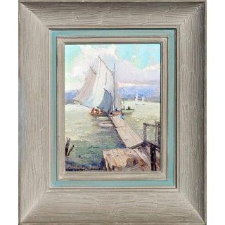 'Bickfords Landing', Gloucester Harbor Original Painting by Nell Gertrude Walker Warner For Sale