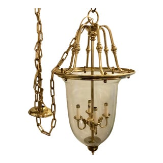Vintage Federal Brass Globe and Glass Hanging Chandelier For Sale