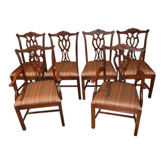 Vintage Mahogany Chippendale Style Dining Chairs - Set of 6