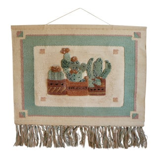 Vintage 1970s Woven Cactus Wall Hanging Textile Art