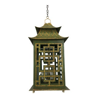 1970s Chinoiserie Metal Pagoda Lantern With Fretwork For Sale