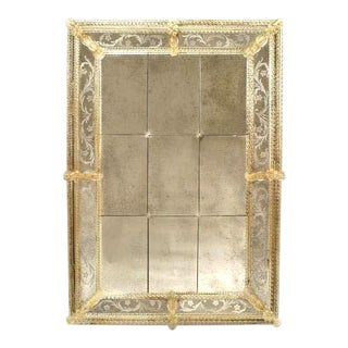 Italian Venetian Murano Etched Paneled Wall Mirrors For Sale