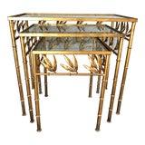 Image of Vintage Italian Gilt Tole Faux Bois Nesting Tables- Set of 3 For Sale