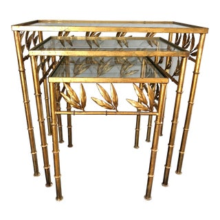 Vintage Italian Gilt Tole Faux Bois Nesting Tables- Set of 3 For Sale