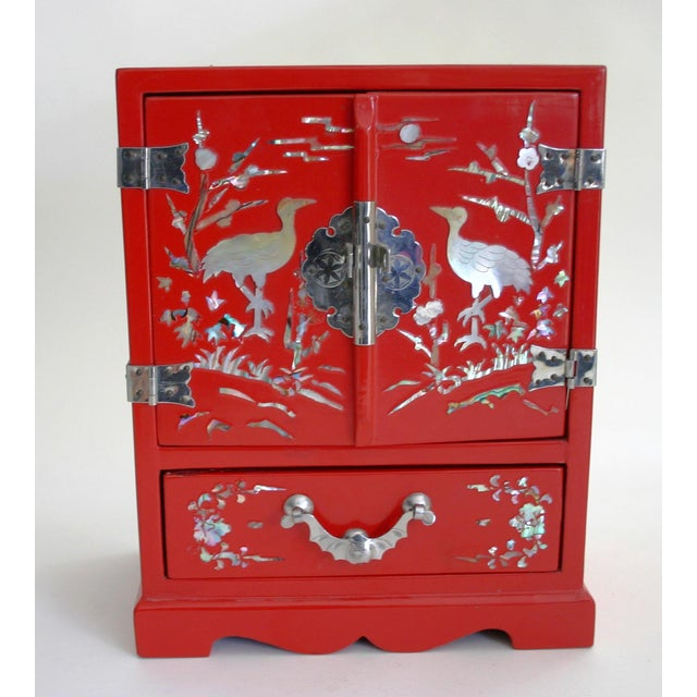 Chinese Red Lacquered Jewelry Chest - Image 2 of 5