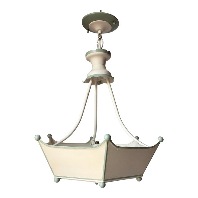 Vintage Italian Tole Painted Chandelier For Sale
