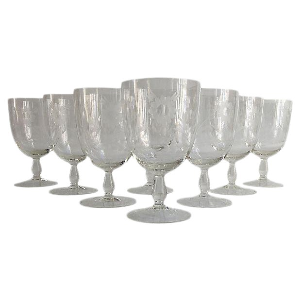 1920s Art Deco Floral Cut Crystal Goblets - Set of 8 For Sale