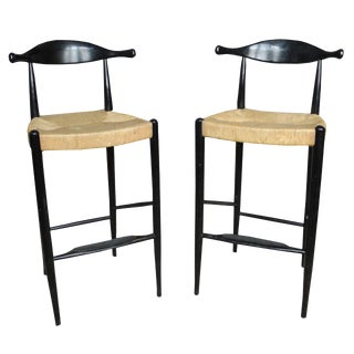 Mid-Century Ox Bow Tall Bar Stools in the Style of Hans Wegner For Sale