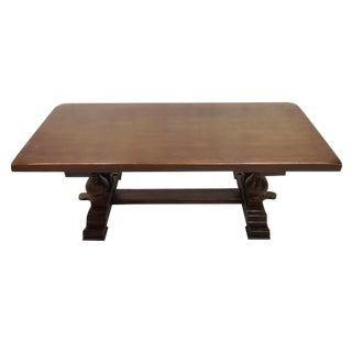 Massive Solid Vintage French Oak Trestle Dining Table For Sale