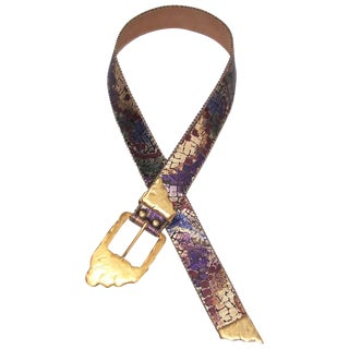 1980's Purple & Gold Leather Belt With Sculptural Buckle For Sale