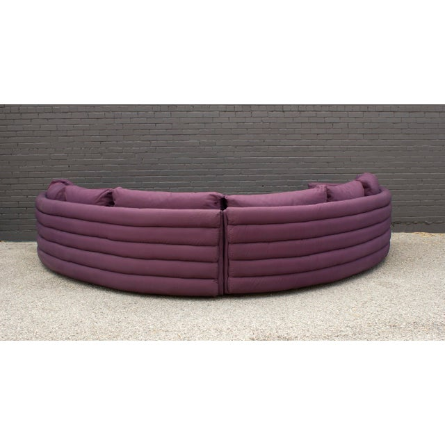 1980s Milo Baughman for Thayer Coggin 1970s Channel Back Semi-Circular Sectional Sofa For Sale - Image 5 of 12