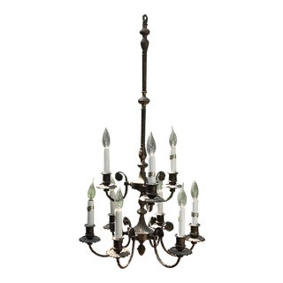 Early 20th Century Hand Forged Antique Bronze Chandelier For Sale