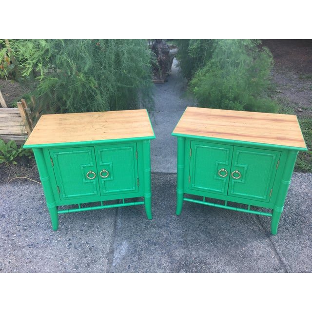 Vintage Thomasville Faux Bamboo Green Nightstands - A Pair - Image 2 of 10