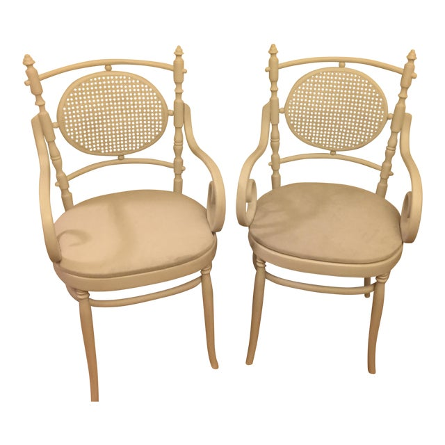 Light Gray Cane Back Chairs - A Pair - Image 1 of 4