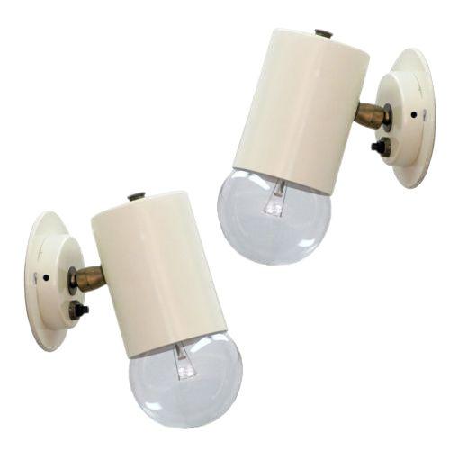 Pair of Minimalistic Stilnovo Adjustable Brass White Wall Lights For Sale