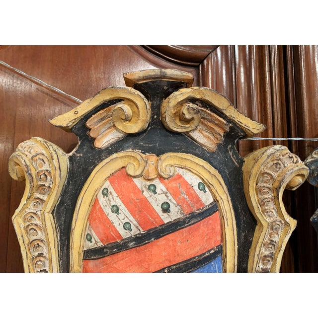 Wood Pair of Early 20th Century French Carved Painted Wall Hanging Shields With Crest For Sale - Image 7 of 11