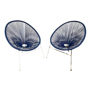 Acapulco Woven Basket Lounge Chairs - a Pair