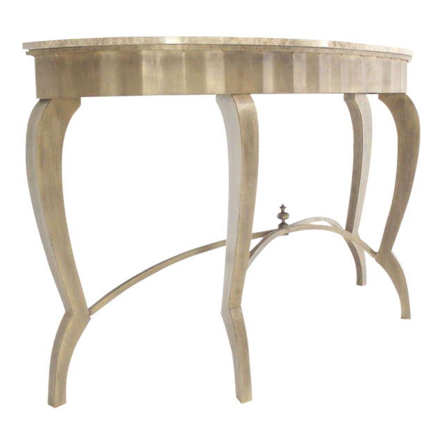 Ovesize Art Deco Silver Leaf with Marble-Top Demilune Console Table For Sale