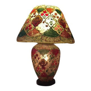 Mid Century Camel Skin Lamp Hand Painted Vintage Pakistan Lantern Lamp For Sale
