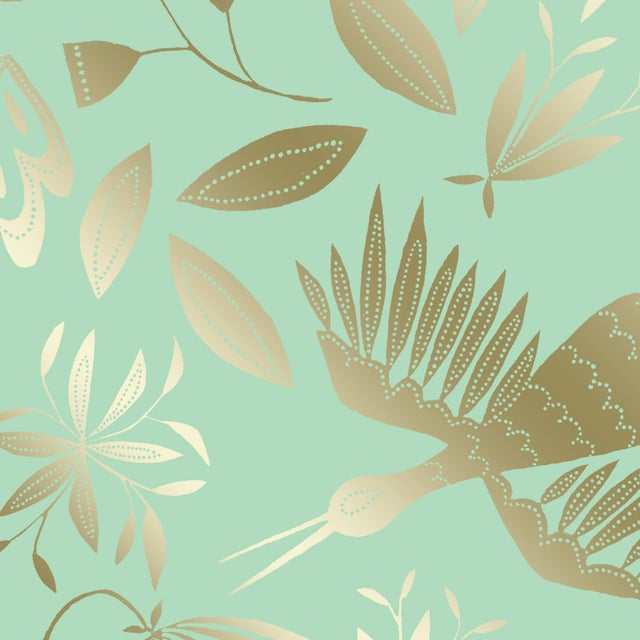 Transitional Julia Kipling Otomi Grand Wallpaper, Sample, in Chiffon, Gold Flash For Sale - Image 3 of 4
