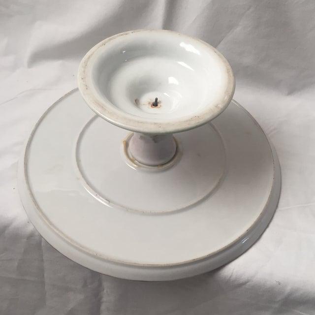 Ceramic Vintage Floral Cake Plate Pedestal For Sale - Image 7 of 9