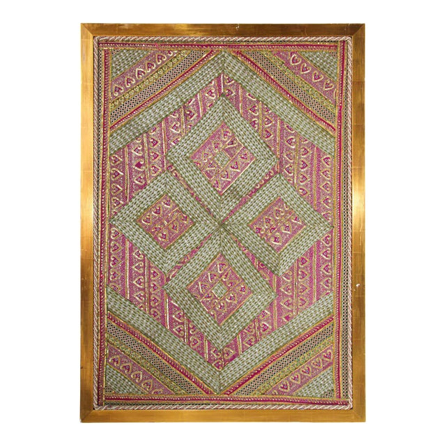 Mughal Style Metal Threaded Tapestry Framed from Rajasthan, India For Sale
