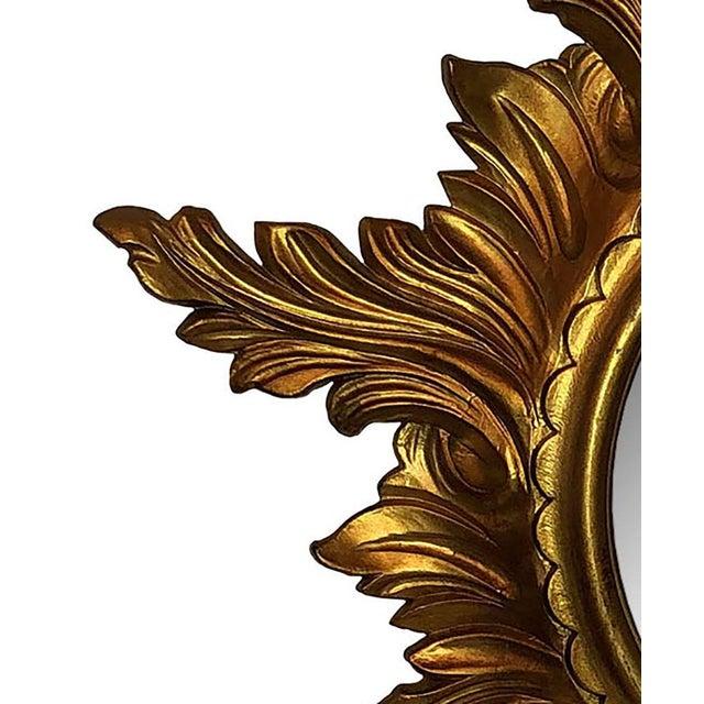 Mid Century Gold Italian Sunburst Mirror For Sale - Image 4 of 6