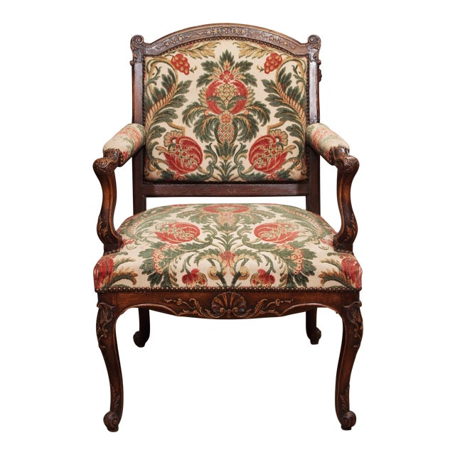 19th Century Walnut French Fauteuil For Sale