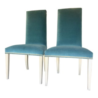 Dark Teal Traditional Velvet Chairs- A Pair For Sale