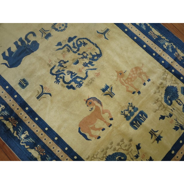 1910s Antique Chinese Pictorial Elephant Rug, 4'9'' X 7'8'' For Sale - Image 5 of 13
