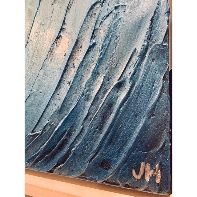 Blue Modern Abstract Original Oil Painting For Sale - Image 8 of 11