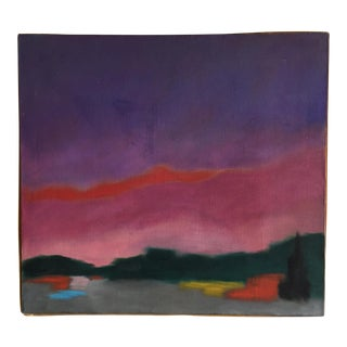 "Original Abstract Painting ""Sun Set"" by Sachiko Asano, 1967"
