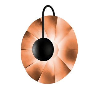 "Reflector Wall Light in Satin Copper With Satin Black (11.8"") For Sale"