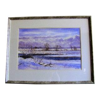 Irish Watercolor by Rev Jh Flack of Winter Scene For Sale