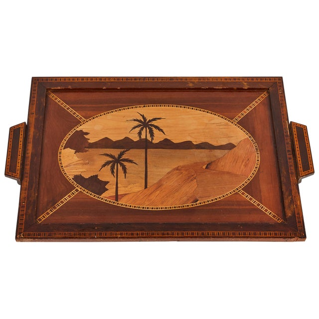 Mid-Century Modern Island Themed Inlaid Mahogany Serving Tray For Sale