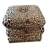 Image of Three Cushion Swivel Leopard Ottoman For Sale