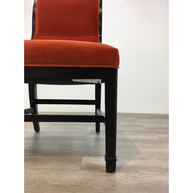Modern Henredon Modern Orange Velvet Dining Chairs Set of Four For Sale - Image 3 of 7