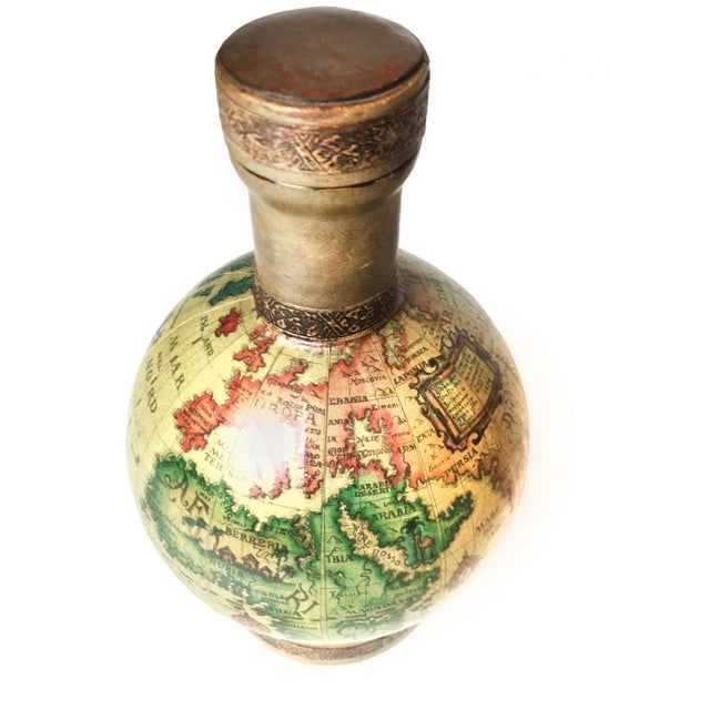 Vintage Mid Century World Globe Map Glass Decanter - Image 3 of 4
